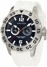 New Nautica BFD 100 Multi-Function White Rubber Date Men Watch 50mm N16616G $165