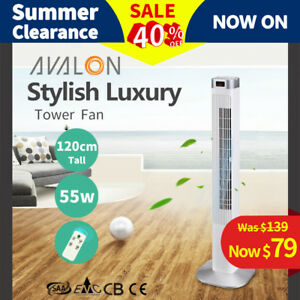 2019 New Luxury Portable Tower Fan 4046WR 120cm Remote Control LCD - White