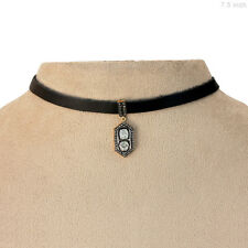 7.5 Inch Leather Choker Necklace Designer Pendant Rosecut Diamond Silver Jewelry