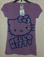 NWT WOMENS / JUNIORS HELLO KITTY PURPLE PUNCH HEATHER T-shirt   SIZE S