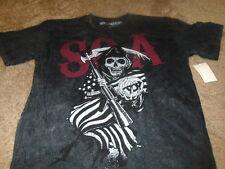 New Sons of Anarchy Mens SOA Skull Black Biker T-Shirt Size Medium M
