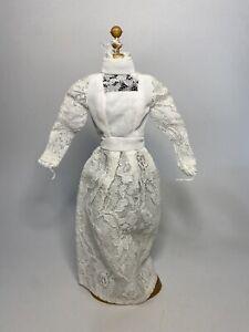VINTAGE BARBIE MADDIE MOD SHILLMAN LOVLY SILVER LACE WHITE WEDDING DRESS