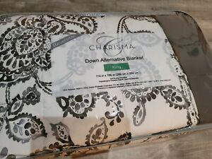 Lightweight Charisma King Gray Paisley Reversible Down Alternative Blanket