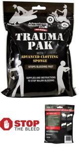 Emergency Medical First Aid Trauma Pack Kit QuikClot Quick Clot Sponge Clotting