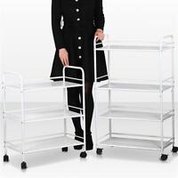 3/4 Hair Drawers Mental Salon Trolley White Rolling Cart Tools Storage Cart
