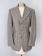 Vtg 70s Superfly Gold Brown Houndstooth Plaid Wool Disco Pimp Blazer Jacket 36