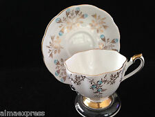 Beautiful Queen Anne China England Gold Leaf & Blue Flower Tea Cup & Saucer Set