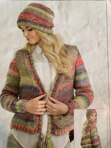 "Ladies Chunky Cardigan & Hat Size 28""-46""  Knitting Pattern  L106"
