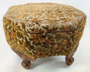 "Vintage 1950 Retro Daisy Floral Upholstery Leaf Ball Wood Foot Stool 18"" Ottoman"