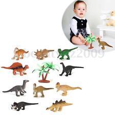 12 Assorted Mini Dinosaur Animals Model Figurine Kids Education Toy With A Tree
