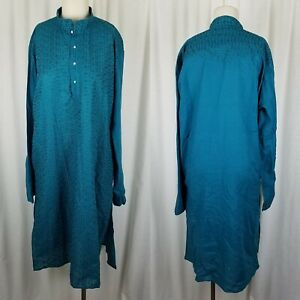 Indian Traditional Ethnic Party Blue Embroidered Sherwani Kurta Coat Mens 42