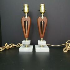 Pair of Vintage Mid Century Modern Table Lamps  Walnut and Marble