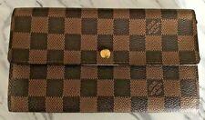 Louis Vuitton Damier Ebene Bi-Fold Long Snap & Zip Wallet Clutch Purse