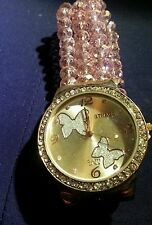 "WOMEN 3 ROW GLASS BEADS FASHION WATCH-ROSE GOLD W/CRYSTALS-FIT 7 1/2"" TO 10"""