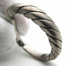 """VIKING ERA SILVER """"TWISTED"""" RING - WEARABLE HISTORICAL ANCIENT ARTIFACT - F299"""
