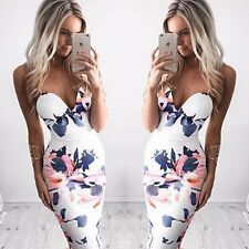 Damen Sommer Casual Bodycon Abendkleid Party Cocktail Sexy Blumen Knie Lang Mode