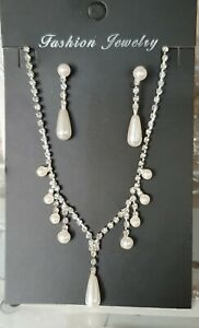 Elegant Wedding Party Pearls Necklace and Earrings Sets Silver Colour