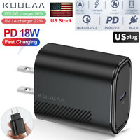 Black 18W PD QC 4.0 3.0 Type-C Charger Fast Charging Wall Power Adapter US Plug