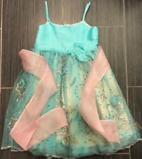 Le Pink Turquoise Sleeveless Sequined Embroidered Silk Dressy Dress-6X