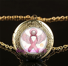 Breast Cancer Awareness Cabochon Glass Gold Locket Pendant Necklace