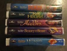 5xLot Black Diamond Disney Vhs Little Mermaid Dumbo Fox Hound Beauty & Beast