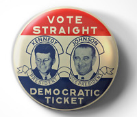 JFK John F Kennedy Johnson LBJ 1960 political -pin pinback button -FREE Shipping