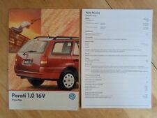 VOLKSWAGEN BRAZIL PARATI 16V orig 1998-99 Glossy Sales Brochure + Specs - VW