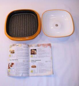 Range Mate Microwave Grill Cooking Cookware Ceramic Orange Nonstick Cooker Rare