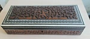 LONG WOODEN CARVED INDIAN / BURMESE BOX 12 X 5 X 2 1/2 INCH