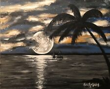 "Beautiful ""Sailor's Paradise "", Original Art Canvas Painting"