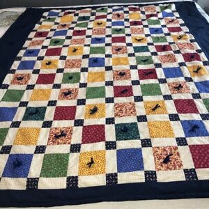 Vintage Handmade Patchwork Quilt Twin Colorful Calico Blocks Hand Tied Homespun