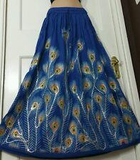Boho Hippie Long Sequin Rayon Royal Blue Peacock design festival VINTAGE skirt