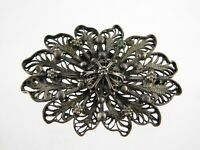 Vintage Jerusalem Sterling Silver Filigree Flower Pin Brooch 925 Floral Themed