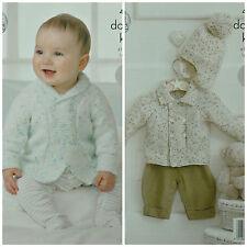 KNITTING PATTERN Baby's Easy Knit Double Breasted Jackets &Bobble Helmet DK 4318