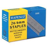 RAPESCO STAPLES 6mm No. 26/6 PACK 5000 FOR STAPLERS  HTST116