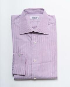 Charvet $650 New Pink Lavender White Striped Cotton Slim Dress Shirt 38 eu 15 US