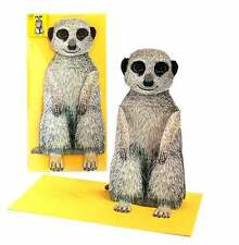 Pop-Up-3 D-carte Animaux: MEERKAT + jaune Enveloppe
