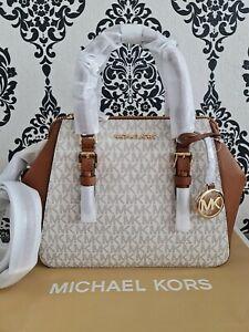 Michael Kors Ladies Charlotte Large Logo Satchel Bag Brown BNWT beige