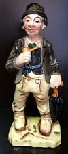 Vintage Wales Figurine Old Man Hobo Standing with Umbrella Holding Pipe Japan