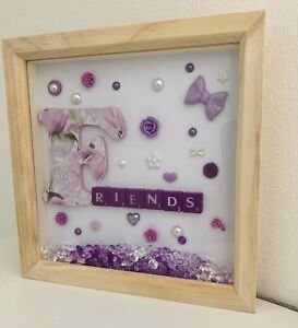 3d deep box frame. FRIENDS, purple, white, christmas gift, Thank you gift