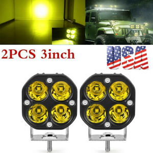 2X 3in 40W LED Work Light Yellow Fog Offroad Driving Spot 4WD Lamp Amber Pods US