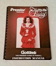 New listing Gottlieb Premier Diamond Lady Pinball Machine Original Manual & Schematics Nos!