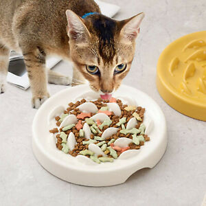 Ceramic Pet Bowl Dog Cat Interactive Slow Food Feeder Healthy Gulp Feed Dish ag