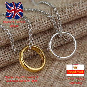 Lord of the Rings Hobbit Ring Necklace Jewellery Gold Silver
