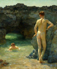 ZOPT267  two nude man explore hole & swimming art OIL PAINTING on CANVAS