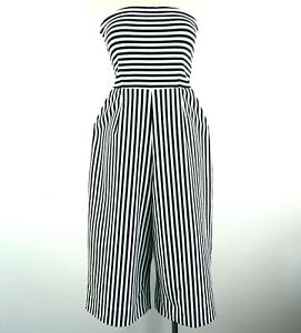Cooper St Strapless Black & White Striped Jumpsuit Size 10 Cropped Wide Leg