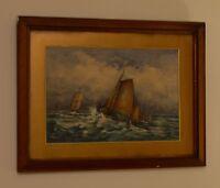 19th Century English School Ships on Rough Seas Watercolour Signed Derbyshire