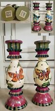 2~Tracy Porter Stonehouse Farm Goods '93~Hand Painted~Signed Wood Candlesticks