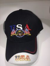 Patriotic USA and Flag Baseball Cap One Size Fits All - Black