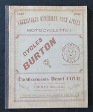 Catalogue 1933 CYCLES BURTON Cholet vélo bike Fahrrad motocyclette catalog